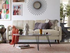 Natalie Mid-Century Modern Sofa Upholstery: Beige