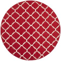 Dhurries Red/Ivory Area Rug Rug Size: Round 6'