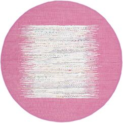 Static Hand-Woven Wool Pink/White Area Rug Rug Size: Round 6'