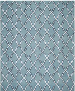 Dhurries Hand-Woven Wool Light Blue/Ivory Area Rug Rug Size: Rectangle 9' x 12'