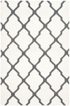 Dhurries Hand-Woven Wool Ivory/Charcoal Area Rug Rug Size: Rectangle 4' x 6'
