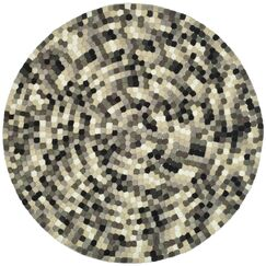 Freda Hand-Tufted Black/Gray Area Rug Rug Size: Round 8'
