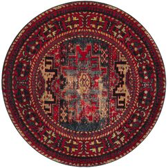 Parthenia Red Area Rug Rug Size: Round 5'3