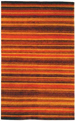 Bernick Tibetan Hand Knotted Rust/Gold Area Rug Rug Size: Rectangle 8' x 10'