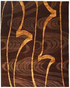 Kneiske Tibetan Hand Knotted Silk/Wool Brown/Gold Area Rug Rug Size: Rectangle 4' x 6'