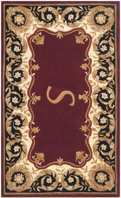 Lenora Hand Tufted Wool Maroon Area Rug Rug Size: Rectangle 5' x 8', Letter: M