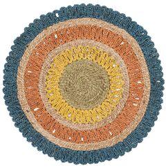 Veilleux Natural Fiber Hand Tufted Blue/Beige Area Rug Rug Size: Round 3'
