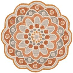 Coral Springs Hand Hooked Wool Orange Area Rug  Rug Size: Round 4'