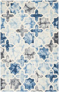 Corydon Hand Tufted Wool Dark Blue/Ivory Area Rug Rug Size: Rectangle 3' x 5'