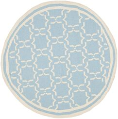 Dhurries Hand-Woven Wool Light Blue/Ivory Area Rug Rug Size: Round 6'