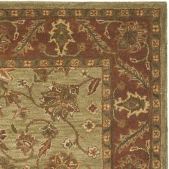 Jaipur Hand-Tufted Wool Green/Rust Area Rug Rug Size: Rectangle 5' x 8'