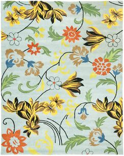 Eldridge Blue Floral Area Rug Rug Size: Rectangle 2' x 3'