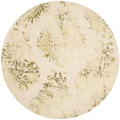 Dip Dye Hand-Woven Green/Ivory Area Rug Rug Size: Round 7'