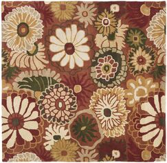 Jardin Rust / Multi Contemporary Rug Rug Size: Square 6'