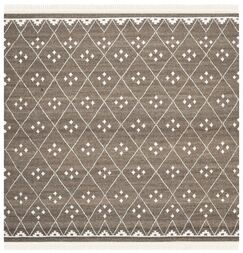 Natural Kilim Hand-Woven/Flat-Woven Brown/Ivory Area Rug Rug Size: Square 7'