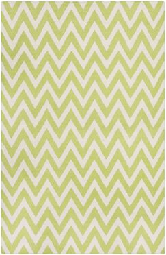 Moves Like Zigzagger Hand-Woven Wool Green/Ivory Area Rug Rug Size: Rectangle 9' x 12'