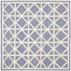 Dhurries Hand-Woven Wool Purple/Ivory Area Rug Rug Size: Square 6'