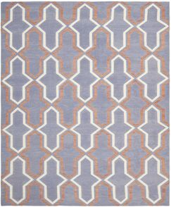 Dhurries Hand-Woven Wool Purple/Tan Area Rug Rug Size: Rectangle 8' x 10'