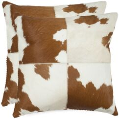 Carley Cowhide Throw Pillow Size: 18