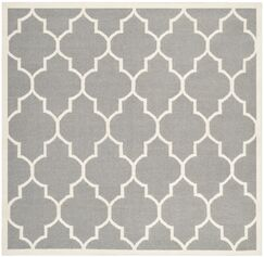Dhurries Hand-Woven Wool Gray/Ivory Area Rug Rug Size: Square 6'