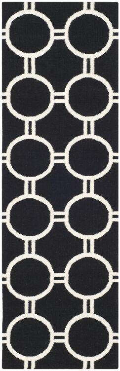 Dhurries Black/Ivory Area Rug Rug Size: Runner 2'6