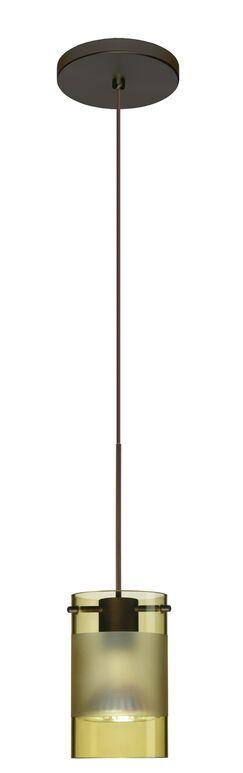 Scope 1-Light Cylinder Pendant Finish: Bronze, Bulb Type: Halogen, Shade Color: Olive/Frost