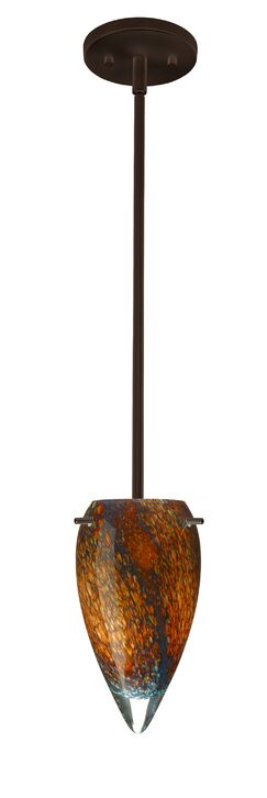 Juli 1-Light Novelty Pendant Finish: Bronze, Glass Shade: Ceylon, Bulb Type: Incandescent