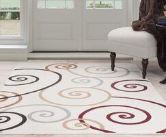 Spirals Beige/Red Area Rug Rug Size: Rectangle 5' x 7'7
