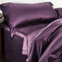 Aus Vio Mulberry Silk Flat Sheet Color: Iris, Size: King/California King