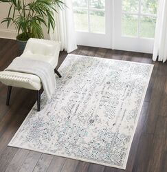 Silver Screen Ivory/Teal Area Rug Rug Size: Rectangle 4' x 6'