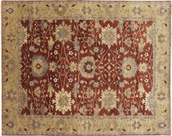 One-of-a-Kind Mahal Fine Zareen Hand-Knotted Rust Area Rug
