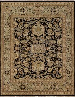 Clerkin Hand Knotted Wool Black/Beige Area Rug Size: 8'2