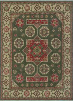 Brower Kazak Hand Knotted Wool Green Area Rug