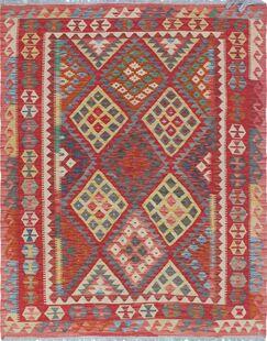 Rucker Kilim Hand Woven Premium Wool Beige/Red Fringe Area Rug