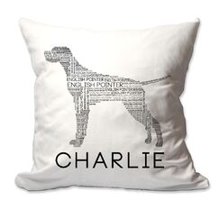 Personalized English Pointer Dog Breed Word Silhouette Throw Pillow
