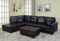 Sectional with Ottoman Orientation: Left Hand Facing, Upholstery: Dark Chocolate