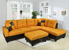 Niantic Sectional with Ottoman Upholstery: Orange, Orientation: Right Hand Facing