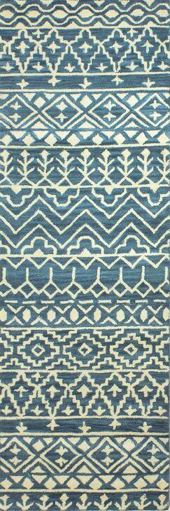 Peterman Hand-Tufted Wool Azure Area Rug Rug Size: Runner 2'6