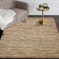 Vitagliano Striped Hand-Tufted Coffee Area Rug Rug Size: Rectangle 9' x 12'