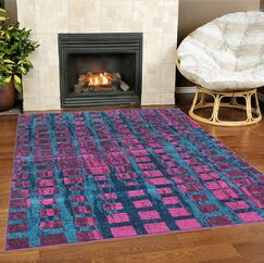 Nehemiah Square Turquoise/Pink Area Rug Rug Size: Rectangle 3'11