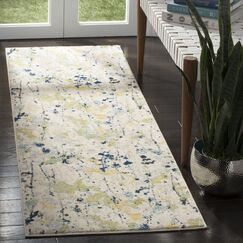 Gore Ivory/Yellow Area Rug Rug Size: Runner 2'2