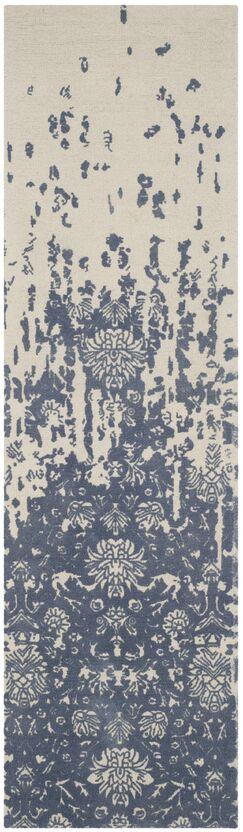 Ellicottville Hand-Tufted Ivory/Blue Area Rug Rug Size: Runner 2'3