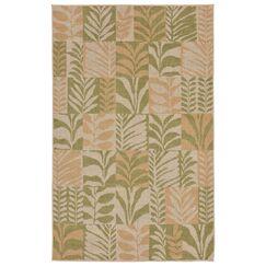Rosalynn Box Leaves Power Loom Green Indoor/Outdoor Area Rug Rug Size: Rectangle 7'10