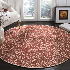 Melinda Hand Tufted Red Area Rug Rug Size: Round 6'