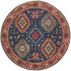 Iraheta Hand-Tufted Wool Navy/Red Area Rug Rug Size: Round 6'