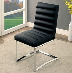 Jame Upholstered Dining Chair Color: Black