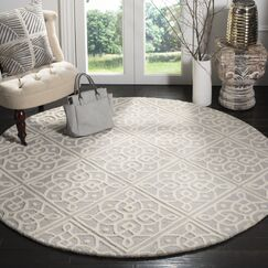 Mahoney Hand-Tufted Light Gray/Ivory Area Rug Rug Size: Round 6' x 6'