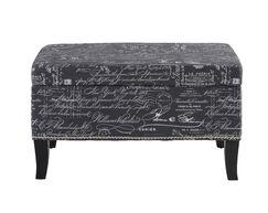 Pierro Ottoman Upholstery: Gray Linen with Script