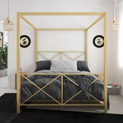 Gilma Canopy Bed Color: Gold, Size: Queen