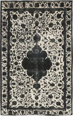 One-of-a-Kind Vislobokov Hand-Knotted Wool Black/Ivory Indoor Area Rug